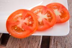 切的蕃茄-健康食物 库存照片