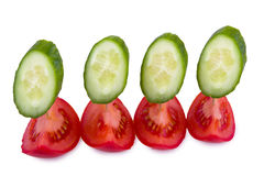 切的蕃茄黄瓜 库存照片