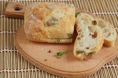切的面包Ciabatta 免版税库存照片