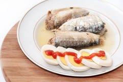 切的鸡蛋用西红柿酱和沙丁鱼在板材服务 库存照片