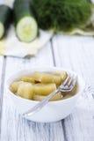 切的黄瓜的部分(被腌制) 库存照片