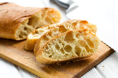 切的ciabatta面包 库存图片