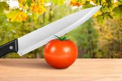 切红色蕃茄的刀子 免版税库存照片