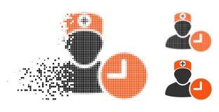 切细的Pixelated半音医生Schedule Clock Icon 库存例证