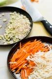 切葱、芹菜和红萝卜 免版税图库摄影