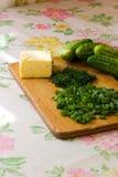 切蔬菜的牌照 免版税库存照片