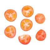 切蕃茄 切好的蕃茄 蕃茄切开了成切片 库存图片