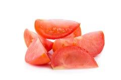 切蕃茄 切好的蕃茄 蕃茄切开了成切片 免版税图库摄影