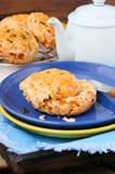 切达乳酪和甜玉米烤饼 库存图片
