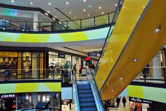 什切青,波兰 2016年9月01日 Kaskada shoping的中心 免版税库存图片