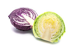 切紫色和嫩卷心菜隔绝有白色背景 库存照片