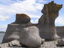 划分为的花岗岩石头 库存照片
