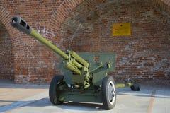 划分反坦克76 mm枪ZIS-3在下诺夫哥罗德克里姆林宫  免版税库存图片
