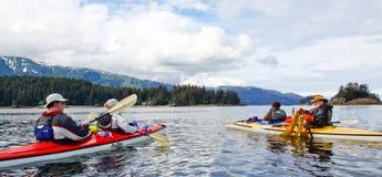 划皮船午餐Kachemak海湾的阿拉斯加 免版税库存照片