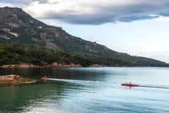 划皮船在塔斯马尼亚岛 库存照片