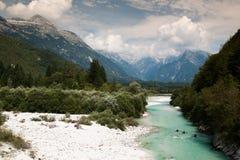 划皮船在朱利安阿尔卑斯山 免版税库存照片