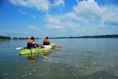 划皮船在寻找桃红色海豚的湄公河在唐Det附近, 4000个海岛,老挝 免版税库存图片