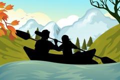 划皮船的人员 免版税库存图片