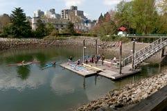 划皮船的温哥华 库存照片