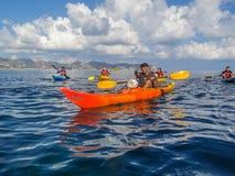 划皮船的游览 免版税库存照片