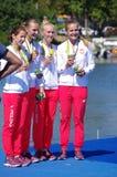 划船妇女的变成四倍Rio2016的短桨青铜色奖章获得者 库存照片