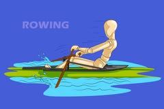 划船的概念炫耀与木人的时装模特 免版税库存照片