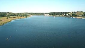 划船轨道鸟瞰图在波兹南,波兰 免版税库存照片