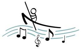 划船音乐 免版税库存照片