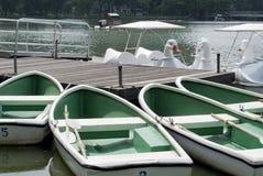 划艇和天鹅小船租的 图库摄影