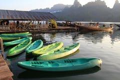 划艇在湖,泰国 库存图片