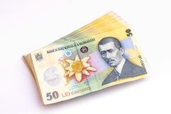 50列伊钞票 库存图片