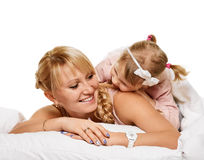 系列使用 有一个好时间母亲和小女儿 免版税图库摄影
