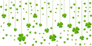 Greeting card with hanging green Lucky clover vector background border design stock illustration