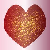 There are a lot of glowing shining dots in the red love heart. On a pink background royalty free stock photos