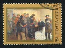 列宁在斯莫尔尼宫在1917年10月米哈伊尔索科洛夫 免版税库存图片