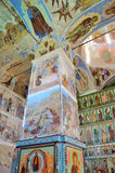 列宁格勒地区,俄罗斯, 2015年9月, 13日, Svyatotroitsky亚历山大Svirsky修道院,三位一体的壁画的片段 免版税库存照片