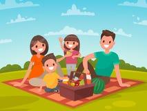 系列愉快的野餐 爸爸、妈妈、儿子和女儿休息 皇族释放例证