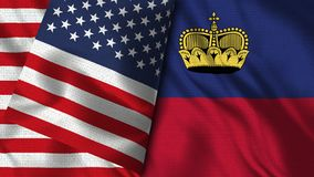 列支敦士登和美国旗子- 3D例证两旗子 皇族释放例证