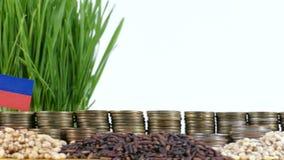 列支敦士登沙文主义情绪与堆金钱硬币和堆麦子 影视素材