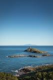 列斯Iles Finocchiarola在离盖帽的附近Corse海岸在可西嘉岛 免版税库存照片