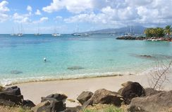 列斯Trois Ilets -堡垒de法国-马提尼克岛-加勒比海热带海岛  免版税库存图片