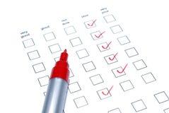 列表标记红色调查 免版税图库摄影