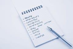 列表购物 免版税图库摄影