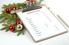 列表s圣诞老人 库存照片