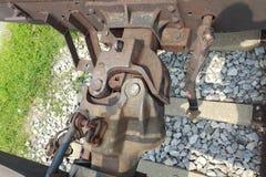 列车车箱勾子耦合装置 免版税图库摄影