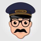 列车长与玻璃的动画片面孔 库存例证