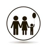 系列结构 与气球的家庭 向量例证