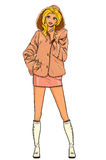 系列-皮大衣的妇女 库存例证