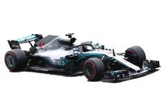 刘易斯・咸美顿F1汽车例证 库存照片