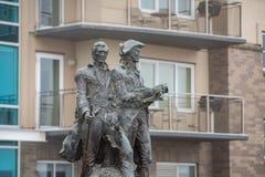 刘易斯和克拉克足迹雕象的著名末端  免版税图库摄影